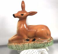 Vintage MCM Art Pottery Deer Doe Planter Laying In Grass Spring Easter Ceramic