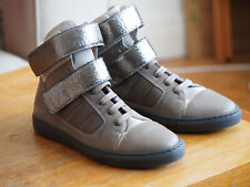 NEW Brunello Cucinelli hi-top straps sneakers grey silver leather size 36 UNWORN