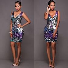UK Women Sequin Deep V Dress Ladies Party Clubwear Evening Sleeveless Midi Dress