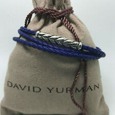 DAVID YURMAN Chevron Triple-Wrap Bracelet in Blue Leather and Sterling Silver