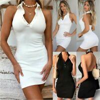 New Women Summer Sexy Bodycon Mini Dresses Ladies Polo Neck Clubwear Party Dress