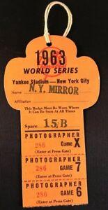 1963 World Series Pass/Ticket Sandy Koufax MVP/K 15 Record/ Mickey Mantle 2 K