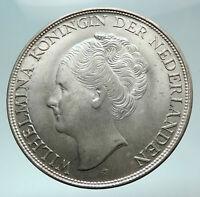 1944 Netherlands Kingdom Queen JULIANA Antique Silver 2 1/2 Gulden Coin i82416