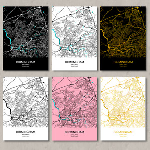 Birmingham map, print, Birmingham map poster, Birmingham city map, wall art