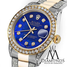 Ladies Rolex Oyster Perpetual Datejust 26mm Custom set Diamonds Dial Blue