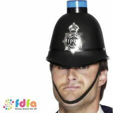 FUNNY POLICE MAN HELMET HAT WITH FLASHING SIREN mens fancy dress costume