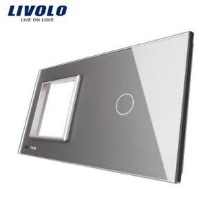 LIVOLO RESTPOSTEN Nur Glasblende Neuware 2 Fach VL-LL-SR-C1-15 Grau mit Logo