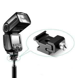 Camera Metal Flash Bracket Mount Adapter With 1/4 Tripod Screw To Light Stand☆