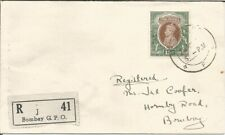 BRITISH INDIA KGVI REGISTERED COVER RS 15/- TO BOMBAY. BOMBAY GPO J41 HIGH VALUE