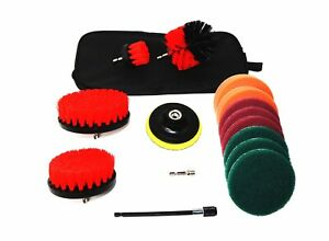 3 Pc Drill Brush Set Red + 11 Pc Drill Scour  Attachment + Carry Bag SHIPS FREE