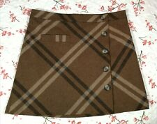NEXT brown Check Skirt Size 12 ~wool mix ~Autumn Winter ~Smart Casual Work ~Mini