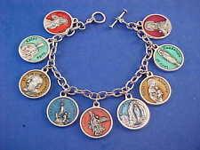 """ENAMEL Religious Catholic Saint Medal Charm Bracelet Lot PRAYERS Stainless 8.5"""""""