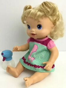 Hasbro Baby Alive Beautiful Now Baby Doll Blonde Pink Poodle Dress 2011