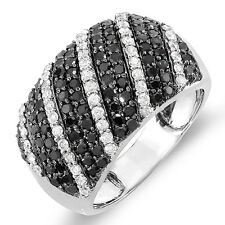 1.55 Ct 10k White Gold Black White Round Diamond Ladies Cocktail Right Hand Ring