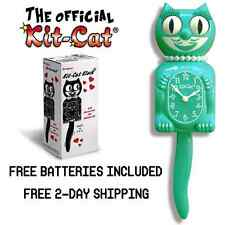 "EMERALD GREEN LADY KIT CAT CLOCK 15.5"" Free Battery LIMITED EDITION Retro Teal"