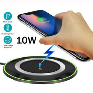 QI 10W Fast Wireless Charger Charging Pad For Huawei P30/Mate 20 Pro Samsung S10