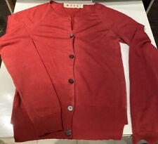 Marni cardigan 100% Cashmere 40 Small   Raspberry Red Fine Knit Stretch