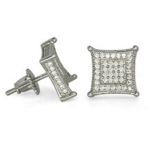 Mens 10mm Kite Studs Silver Plated Micro Pave Cz Hip Hop Screw Back Earrings