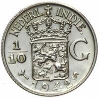 Niederländisch Indien - Münze - 1/10 Gulden 1942 S - Silber - Stempelglanz UNC