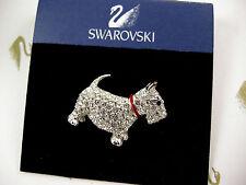 SIGNED SWAROVSKI PAVE' CRYSTAL SCOTTIE DOG PIN /BROOCH RETIRED RARE NEW ON CARD