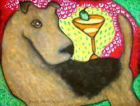 Airedale Terrier Martini Balancing Act Pop Art Print 8x10 Dog Collectible KSams