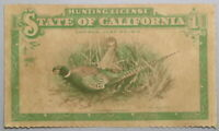 1913 Vintage California Hunting License with Hoegee Co Ad Holder (19062307R)