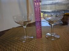 2 vintage grapevine etched Champagne  Clear glasses 5 inches Tall