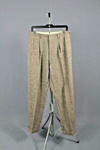 Men's 1940s Tweed Red Fleck Drop Loop Slacks 32x32 40s Vtg Dress Pants