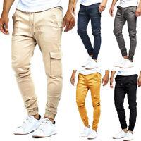 UK Men's Casual Slim Fit Urban Pencil Jogger Cargo Pants Straight Leg Trousers