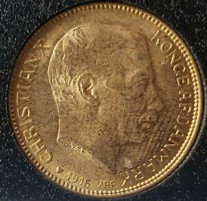 1915 Denmark 20 Kroner Gold Christian X Coin in Capsule