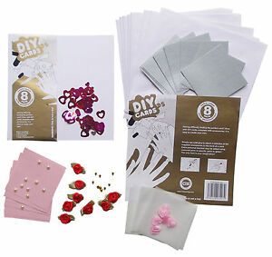 DIY CARDS 8 Set Square Card Flowers Make Your Own Craft Set Family Fun Birthday