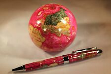 Genuine Multi-Gemstone Globe Paper Weight & Pen Executive Desk Set - Rose Red