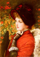 Nice Oil painting female portrait Type Of Beauty - Young woman with fan canvas