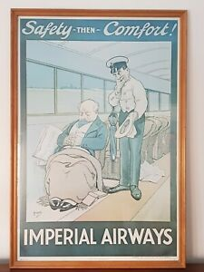 A Vintage Collectable Imperial Airways Safety Then Comfort Advertising Poster
