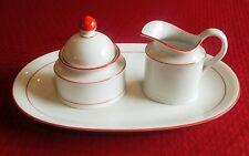Seltmann Weiden Rainbow Red Set Renate Creamer Sugar w/ Lid Oval Platter Bavaria