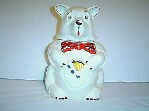 """McCOY COOKIE JAR Polar Bear 11"""" tall 1940s VINTAGE clean G+"""