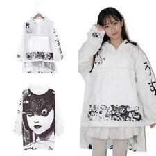 Womens Kimono Junji Ito Anime Jacket Hooded Jacket Contrast Long Sleeve Japanese