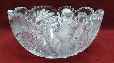 "EACG American Brilliant Cut Glass THISTLE & BUZZ-SAW Round Bowl - 8-1/8"""