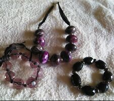 BNNT NECKLACE LARGE BEADS PURPLE MIX PHASE 8 OR COUNTRY CASUAL WITH  2 BRACELETS