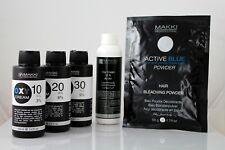 Kit de blanqueamiento de pelo Makki activo Azul Bleach Polvo + Oxy Crema Peróxido de hidrógeno