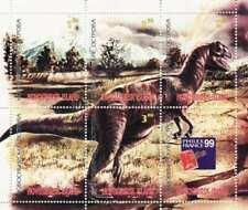 Dinosauri su Francobolli - 6 Francobollo Foglio - 14F-001