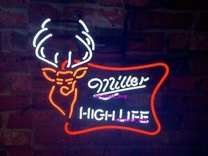 "New Miller High Life Deer Neon Sign 17""x13"" Light Lamp Beer Man Cave Artwork"