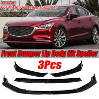 Gloss Black Front Bumper Lip Body Kit Spoiler 3pcs For Mazda 6 Atenza