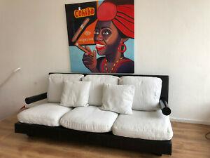 B&B Italia Sofa-Couch-Dreisitzer Lederbezug schwarz Kissenbezüge Stoff