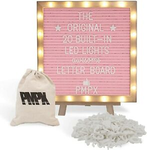 Letter Board Pink Felt Board with Stand, Built-in LED Lights 10 x 10