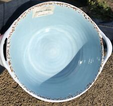New Tommy Bahama Melamine Aqua Blue Handled Serving Salad Bowl Rustic Crackled