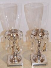 2 Silver-Plated Lamps with Dangling Crystals