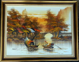 Andrew, framed oil on canvas/board of a fishing village with two boats