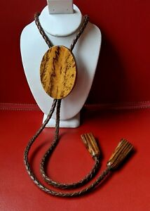 Extra Large WOOD Grain Oval BOLO  Braided BROWN Leather Wooden Tips Ends TIE
