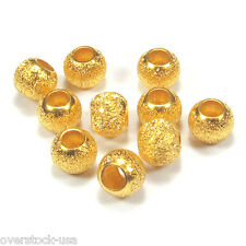 1pcs Solid 24K Yellow Gold 4mm Sand-finished Beads / for Bracelet